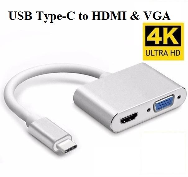 Cáp chuyển USB Type-C to HDMI và VGA cao cấp
