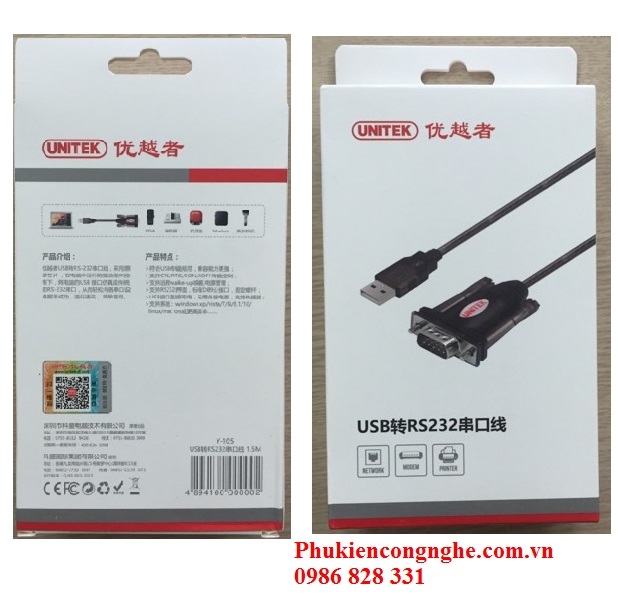 Cáp USB to RS232 Unittek Y-105