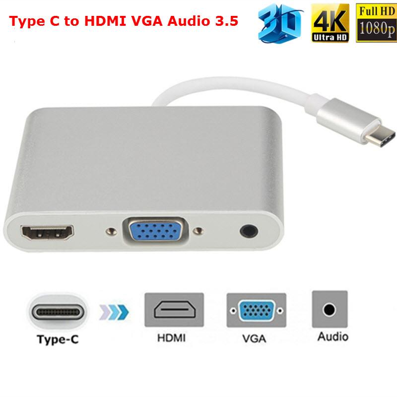 Cáp chuyển USB Type-C to HDMI / VGA + Audio