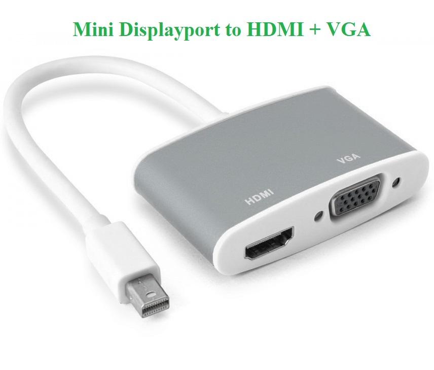 Cáp chuyển đổi Mini DisplayPort to VGA + HDMI vỏ nhôm cao cấp